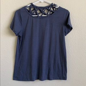 Blue T-shirt with Strappy Neckline